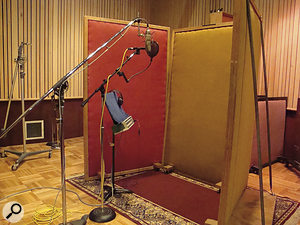 The Neumann U87 and Beyer M201 used for recording the vocal overdubs in Studio B.