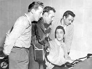 The 'Million Dollar' quartet. From left to right: Jerry Lee Lewis, Carl Perkins, Elvis Presley and Johnny Cash.