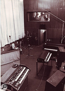 The live room at The Workhouse. You can see Laurie Latham and the side-on API console through the control-room window.