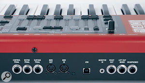 The rear panel features the expected audio, MIDI and control‑pedal sockets. Less expected is the addition of a3.5mm input for external sound sources, routed directly to the headphone output.