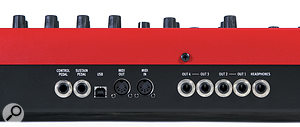 The Nord Lead family has never brimmed with sockets, and the Nord Lead 4 is no exception. It offers four outputs that can be assigned to individual slots for multitimbral use, aheadphone socket (which can only monitor slots 1 and 2), two pedal inputs (sustain and expression) and MIDI on five-pin DIN and USB. Iwas disappointed to find that audio isn't carried over USB, which is asignificant shortcoming nowadays. Finally, there's an IEC input for its integrated power supply.