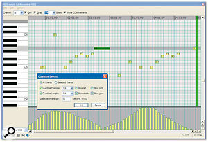 <em>Reaper</em>'s MIDI editing is not quite as comprehensive as that of some sequencers, but it includes a good piano-roll editor with basic quantising and step-sequencing functions.