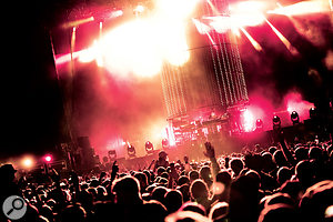 The Chemical Brothers live at Creamfields 2011: Ed Simons (left) and Tom Rowlands are barely visible at the heart of their spectacular light show.