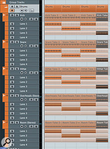 Our starting point, the mutitrack drum comp. In this case, it's a simple 12-bar drum part.