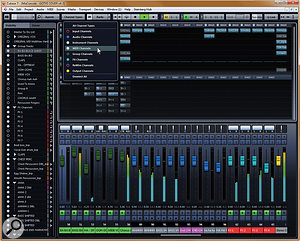 A compact layout of the Mix Console set up for typical mixing tasks, with group tracks fixed in a zone to the left, and effects tracks and the master output channel docked to the right of the mixer, leaving various other channels scrollable across the middle of the mixer. The panel on the left and the drop-down Channel Types panel both provide tools for showing and hiding different tracks, or types of track. Note that this is the first version of Cubase that lets you configure the mixer to show both inserts and sends in the same mixer view.