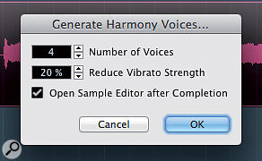 The Generate Harmony Voices dialogue box.