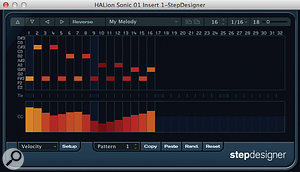 The StepDesigner interface with note data in the upper section and controller data (in this case velocity) in the lower one.