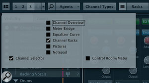The Window Layout dialogue allows you to select which panes are shown in the Mix Console.