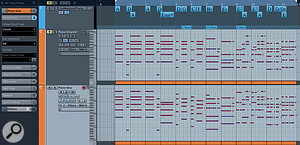 The revised chord sequence modified using the Chord Editor and Chord Assistant. The original (top lane) and revised (bottom lane) piano pats are also shown. The revised part was created by setting the track to follow the Chord Track using Chords mode.