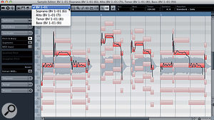 The original vocal (active) and the rather unmusical default four-part harmony generated in the absence of aChord Track, all displayed in asingle Sample Editor window. Note the drop-down menu at top-left that allows you to select which track is active for editing.