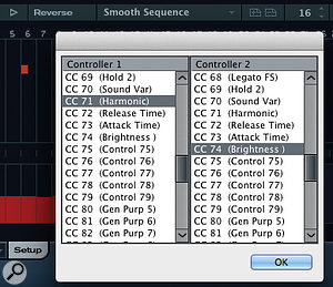 Aside from velocity and gate (note length), you can also pick two other continuous controller numbers to build into your patterns.