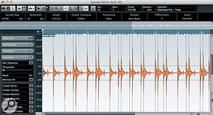 Hitpoints need to be created in the Sample Editor for each of the key drum tracks.