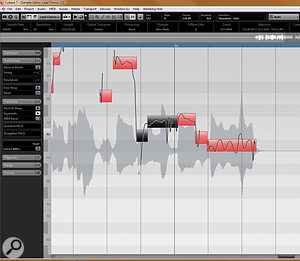 Your first job with VariAudio is to get the splits between different notes right. Here, you can see a  split has been made where a  singer bends into a  note.