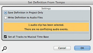 The Set Definition From Tempo dialogue: one click and your audio can become as malleable as MIDI.