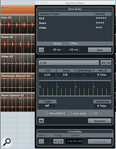 The Quantize Panel's Slice Rules set the priority given to each track's timing. Its central section allows you to define the quantisation type.