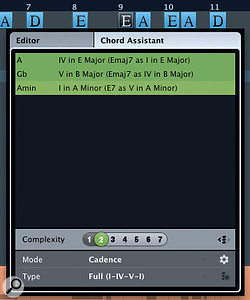 If you select asingle chord, the Chord Assistant will offer you some alternatives.