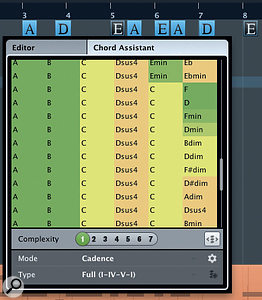 If you select multiple events in the Chord Track, the Chord Assistant will suggest alternative chord sequences.