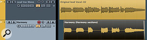 If you just want harmonies for certain words, edit a copy of your original to isolate just those words prior to generating the harmony parts.