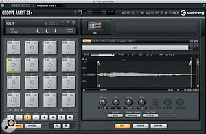 Once placed into Groove Agent, each slice appears on an individual drum pad and can be edited as a  separate sample.