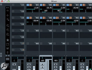 Studio Sends in the main Cubase Mixer allow the monitor mixes to be created.