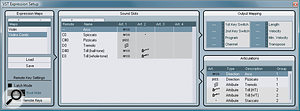 The VST Expression Setup window is where you manage, create and edit Expression Maps. Here you can see the included Violins Combi Expression Map for Steinberg's Halion Symphonic Orchestra VST Instrument.