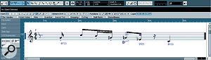 The Score editor enables you to both see Articulation events in a musically relevant way and add new Articulation symbols via the VST Expression Inspector Section. While the notes aren't interesting, this example shows a direct interpretation of the same data displayed in the Key editor illustration.