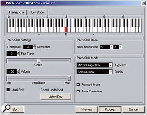 The Pitch Shift function can be used alongside time-stretching for creative effects.