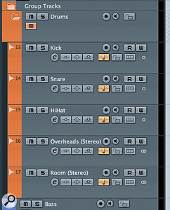 Audio tracks placed within a Folder Track ready for basic drum recording. Note that the Group Editing button has been engaged for the Folder.