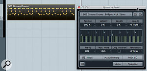 The groove from my two‑bar drum loop is captured and becomes available in the Quantize Panel.