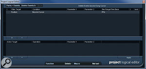 The PLE preset for deleting events beyond the project cursor is about as simple as it gets.