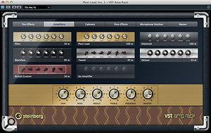 The VST Amp Rack includes seven amp/cab models, covering awide range of possible tones.