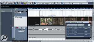 The thumbnail view stills give you a visual cue of scenes in the overall project. (The Preferences dialogue box allows you to allocate more space to the thumbnail cache, and can be helpful if screen redraws become sluggish.) Note also that both the video and its associated audio track are locked in position to avoid accidentally moving them. In addition, a Ruler track is displaying timecode and a Marker track has been used to identify key positions along the timeline, such as scene changes or visual hit points.