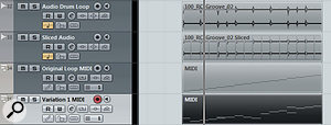 A single two‑bar audio loop shown (top to bottom) in its original form, sliced as an Audio Part, triggered via MIDI using GAO and as an edited version of the MIDI part, to create adifferent loop. All four tracks would adjust to accommodate any changes to the project tempo.
