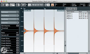 If you have recorded your own drum-hit samples, the Sample Editor can be used to divide them into audio regions.
