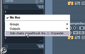In order to get the lead‑vocal Expander to respond to the backing track, you need to send to the plug‑in's side‑chain input. You can see roughly what it should look like in the drop‑down Send menu here.