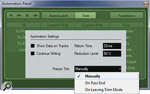 The Automation Settings dialogue box can be used to alter the way trim automation data is handled.
