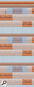 The Range Selection tool allows you to select sections of a take for one track. With Group Editing engaged, the same section of the same take on all other tracks is automatically selected.