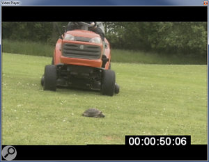 The Video Player window showing a video containing burnt‑in timecode.