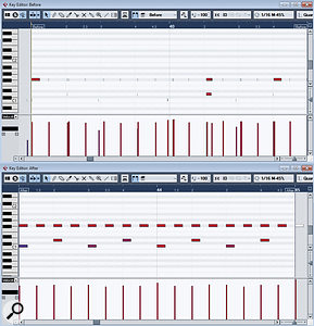 The original drum performance (before) and the processed performance (after). This example is shown for illustration; in reality, you might not wish to clean things up quite so clinically.