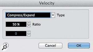 If required, the Functions/Velocity menu option allows you to adjust MIDI velocity dynamics prior to groove capture.