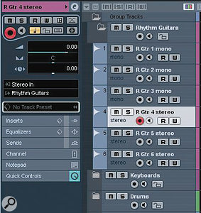 A series of tracks (in this case, just audio tracks) can be pre‑configured within each folder track.