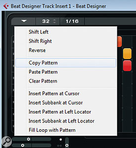 The Pattern Function menu allows patterns to be copied and pasted within the Beat Designer pattern bank or pasted into the Project window as MIDI parts.