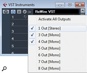 Rewire VST allows one stereo and six mono audio channels to be returned from your Rewired client.
