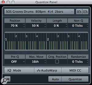 The Quantize Panel allows you to control how 'hard' the groove is applied to other parts. All of these controls are also available via the Quantize tab of the MIDI Editor window.