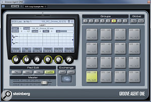 Groove Agent ONE, with a sliced loop mapped across its pads. For such asimple-looking VSTi, GAO offers asurprising amount of functionality for working with drum loops.