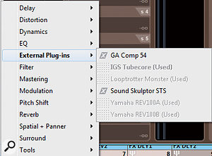 4: Once created, to use an External FX plug-ins, click on the desired insert slot and go to the Steinberg/External FX submenu. Any external plug-ins already in use will be greyed out and unselectable.