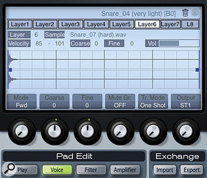 Layers can be edited within the Voice section of the Pad Edit display where you can also adjust the 'Mute Gr' and Output settings for the pad.