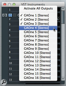 You can activate any of GAO's 16 stereo outputs via the VST Instruments panel.