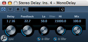 Cubase contains plenty of options for delay, but sometimes it pays to keep things simple and use MonoDelay or StereoDelay.