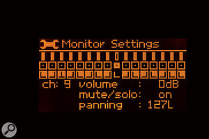 This screen shows the LR16's monitor-mix page. Inputs can have their levels and pan positions adjusted, with the resulting mix being sent to the stereo line outs and headphone output.